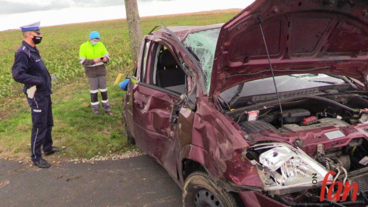 Opel na drzewie – senior w szpitalu (FOTO, WIDEO)